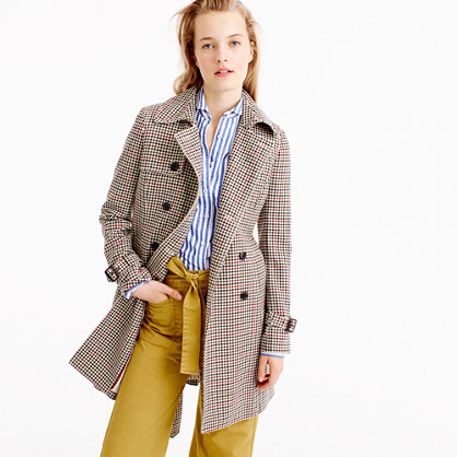 Icon Trench Coat In Plaid Italian Wool - pattern: checked/gingham; style: trench coat; collar: standard lapel/rever collar; length: mid thigh; secondary colour: true red; predominant colour: stone; occasions: work, creative work; fit: tailored/fitted; fibres: wool - mix; sleeve length: long sleeve; sleeve style: standard; collar break: medium; pattern type: fabric; pattern size: standard; texture group: tweed - bulky/heavy; multicoloured: multicoloured; season: a/w 2016; wardrobe: highlight