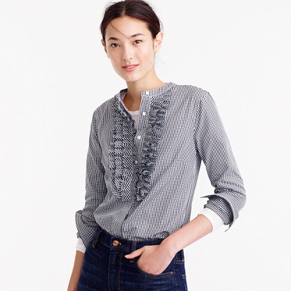 Collection Thomas Mason® For Gingham Ruffle Front Shirt - pattern: checked/gingham; style: blouse; secondary colour: white; predominant colour: black; occasions: casual; length: standard; neckline: collarstand; fibres: cotton - 100%; fit: straight cut; sleeve length: long sleeve; sleeve style: standard; texture group: cotton feel fabrics; bust detail: bulky details at bust; pattern type: fabric; pattern size: standard; season: a/w 2016; wardrobe: highlight