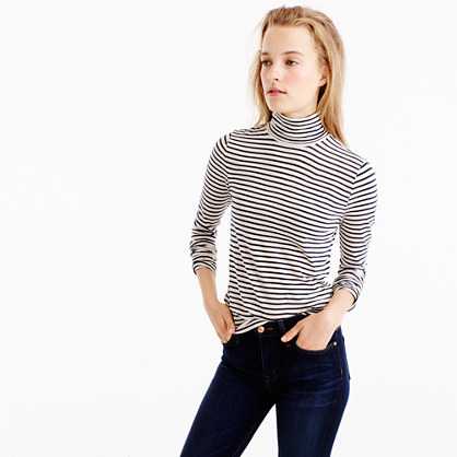 Tissue Turtleneck T Shirt In Stripe - pattern: horizontal stripes; style: t-shirt; neckline: roll neck; secondary colour: white; predominant colour: navy; occasions: casual; length: standard; fibres: cotton - 100%; fit: body skimming; sleeve length: long sleeve; sleeve style: standard; pattern type: fabric; texture group: jersey - stretchy/drapey; multicoloured: multicoloured; wardrobe: basic; season: a/w 2016