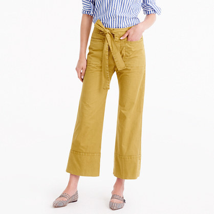 Cropped Pant In Italian Chino With Tie - pattern: plain; waist detail: belted waist/tie at waist/drawstring; waist: mid/regular rise; predominant colour: mustard; occasions: casual; length: ankle length; fibres: cotton - 100%; texture group: cotton feel fabrics; fit: wide leg; pattern type: fabric; style: standard; season: a/w 2016; wardrobe: highlight
