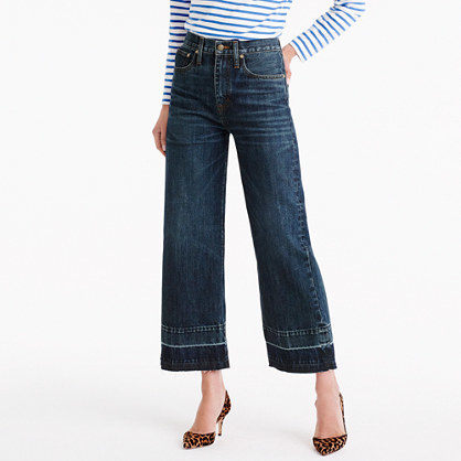 Point Sur Culotte Jean In Blue Poppy Wash - length: standard; pattern: plain; pocket detail: traditional 5 pocket; waist: mid/regular rise; style: wide leg; predominant colour: navy; occasions: casual; fibres: cotton - 100%; texture group: denim; pattern type: fabric; wardrobe: basic; season: a/w 2016