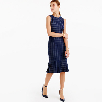 Pleated Windowpane Dress - style: shift; length: below the knee; fit: tailored/fitted; sleeve style: sleeveless; pattern: checked/gingham; secondary colour: white; predominant colour: navy; fibres: cotton - 100%; neckline: crew; sleeve length: sleeveless; texture group: cotton feel fabrics; pattern type: fabric; occasions: creative work; season: a/w 2016; wardrobe: highlight
