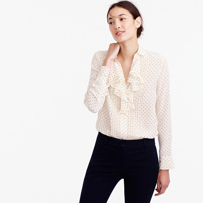 Tuxedo Ruffle Top In Polka Dot Silk - neckline: v-neck; style: blouse; pattern: polka dot; predominant colour: ivory/cream; secondary colour: coral; occasions: work; length: standard; fibres: silk - 100%; fit: straight cut; sleeve length: long sleeve; sleeve style: standard; bust detail: bulky details at bust; pattern type: fabric; pattern size: standard; texture group: woven light midweight; season: a/w 2016; wardrobe: highlight
