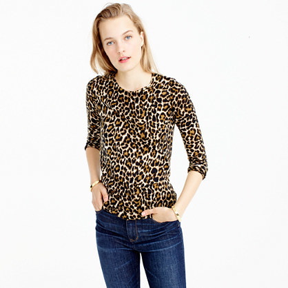 Tippi Sweater In Leopard Print - style: standard; secondary colour: ivory/cream; predominant colour: chocolate brown; occasions: casual, creative work; length: standard; fibres: wool - 100%; fit: standard fit; neckline: crew; sleeve length: 3/4 length; sleeve style: standard; texture group: knits/crochet; pattern type: knitted - fine stitch; pattern size: standard; pattern: animal print; multicoloured: multicoloured; season: a/w 2016; wardrobe: highlight