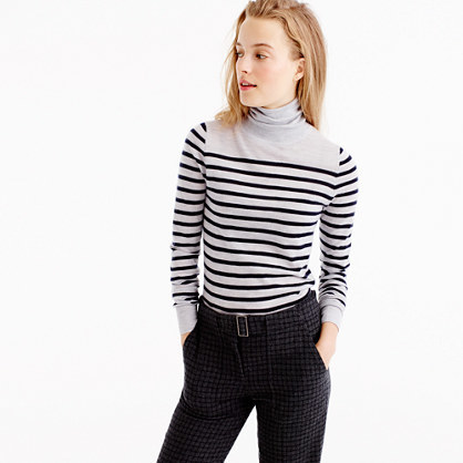 Italian Featherweight Cashmere Turtleneck In Stripe - pattern: horizontal stripes; neckline: roll neck; style: standard; predominant colour: light grey; secondary colour: black; occasions: casual, creative work; length: standard; fit: standard fit; fibres: cashmere - 100%; sleeve length: long sleeve; sleeve style: standard; texture group: knits/crochet; pattern type: knitted - fine stitch; pattern size: standard; season: a/w 2016; wardrobe: highlight