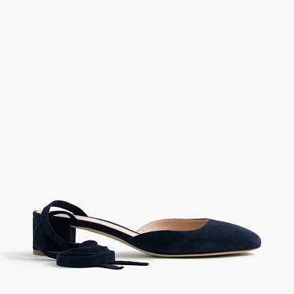 Ankle Wrap Heels In Suede - predominant colour: black; occasions: casual, creative work; material: suede; heel height: mid; ankle detail: ankle tie; heel: block; toe: round toe; style: courts; finish: plain; pattern: plain; wardrobe: investment; season: a/w 2016