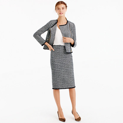 Pencil Skirt In Fringy Tweed - style: pencil; fit: tailored/fitted; waist: high rise; pattern: herringbone/tweed; predominant colour: charcoal; occasions: work; length: on the knee; fibres: wool - mix; pattern type: fabric; texture group: tweed - light/midweight; pattern size: light/subtle (bottom); season: a/w 2016; wardrobe: highlight