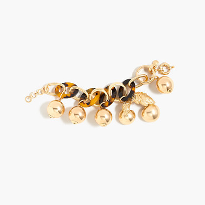 Tortoise Link Bracelet With Cherries - secondary colour: tan; predominant colour: gold; occasions: casual, creative work; style: charm; size: large/oversized; material: chain/metal; finish: metallic; embellishment: chain/metal; season: a/w 2016; wardrobe: highlight