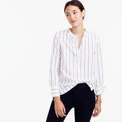 Striped Ruffled Popover Shirt - pattern: pinstripe; style: blouse; predominant colour: white; secondary colour: pale blue; occasions: casual, creative work; length: standard; neckline: collarstand & mandarin with v-neck; fibres: cotton - 100%; fit: straight cut; sleeve length: long sleeve; sleeve style: standard; texture group: cotton feel fabrics; pattern type: fabric; pattern size: standard; season: a/w 2016; wardrobe: highlight; embellishment location: bust