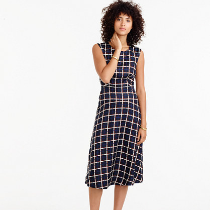 A Line Dress In Silk Twill Windowpane Print - style: shift; length: calf length; neckline: round neck; sleeve style: sleeveless; pattern: checked/gingham; predominant colour: navy; secondary colour: light grey; occasions: work, creative work; fit: body skimming; fibres: silk - 100%; sleeve length: sleeveless; texture group: silky - light; pattern type: fabric; multicoloured: multicoloured; season: a/w 2016; wardrobe: highlight