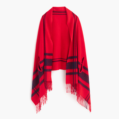Cape Scarf - predominant colour: true red; secondary colour: navy; occasions: casual, creative work; type of pattern: standard; style: wrap; size: large; material: knits; embellishment: fringing; pattern: checked/gingham; season: a/w 2016; wardrobe: highlight