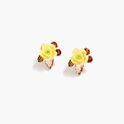 Firefly Flower Earrings - secondary colour: primrose yellow; predominant colour: bright orange; occasions: casual, creative work; style: stud; length: short; size: standard; material: plastic/rubber; fastening: pierced; finish: plain; embellishment: jewels/stone; multicoloured: multicoloured; season: a/w 2016; wardrobe: highlight