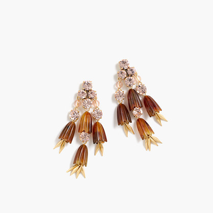 Dahlia Drop Earrings - predominant colour: tan; secondary colour: silver; occasions: evening; style: drop; length: mid; size: large/oversized; material: plastic/rubber; fastening: pierced; finish: plain; embellishment: crystals/glass; season: a/w 2016