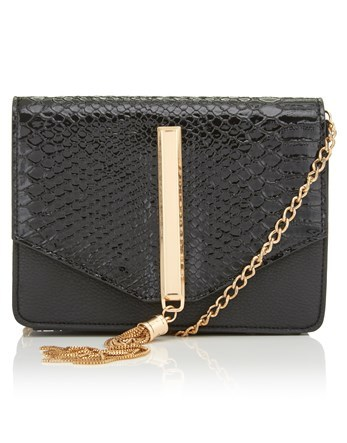 Mock Croc Cross Body Bag - secondary colour: gold; predominant colour: black; occasions: casual, creative work; type of pattern: standard; style: shoulder; length: across body/long; size: small; material: leather; pattern: plain; finish: plain; embellishment: chain/metal; wardrobe: investment; season: a/w 2016