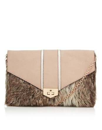 Faux Fur Clutch Bag - predominant colour: camel; occasions: evening; type of pattern: standard; style: clutch; length: hand carry; size: standard; material: faux leather; pattern: plain; finish: plain; embellishment: fur; season: a/w 2016; wardrobe: event