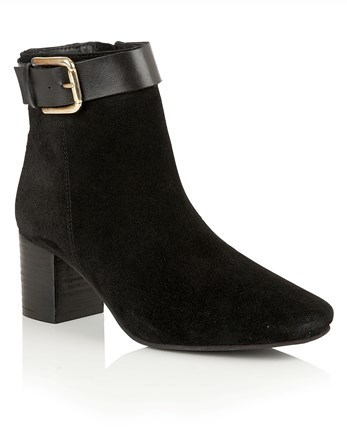 Western Style Ankle Boot - predominant colour: black; occasions: casual; material: suede; heel height: mid; embellishment: buckles; heel: block; toe: round toe; boot length: ankle boot; style: standard; finish: plain; pattern: plain; wardrobe: basic; season: a/w 2016