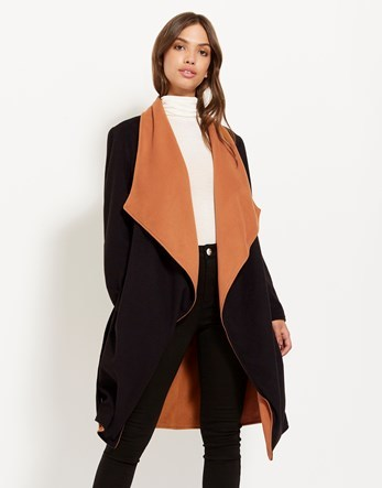 Contrast Waterfall Wrap Coat - pattern: plain; collar: wide lapels; fit: loose; style: single breasted; length: on the knee; secondary colour: bright orange; predominant colour: black; occasions: casual; fibres: polyester/polyamide - 100%; hip detail: adds bulk at the hips; sleeve length: long sleeve; sleeve style: standard; collar break: low/open; pattern type: fabric; texture group: woven bulky/heavy; multicoloured: multicoloured; season: a/w 2016; wardrobe: highlight