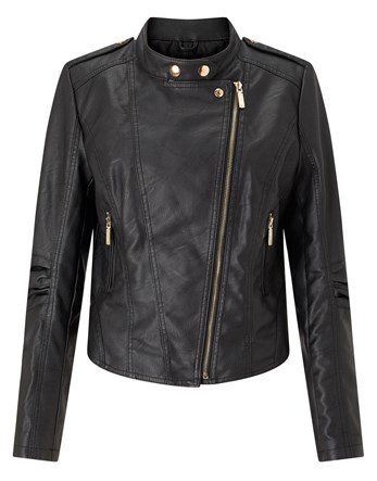 Plus Pu Biker Jacket - pattern: plain; style: biker; collar: standard biker; fit: slim fit; predominant colour: black; occasions: casual, creative work; length: standard; fibres: polyester/polyamide - 100%; sleeve length: long sleeve; sleeve style: standard; texture group: leather; collar break: high/illusion of break when open; pattern type: fabric; wardrobe: basic; season: a/w 2016