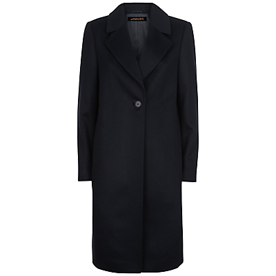 Wool Cashmere Coat - pattern: plain; collar: wide lapels; style: single breasted; length: on the knee; predominant colour: black; occasions: casual, work, creative work; fit: straight cut (boxy); fibres: wool - mix; sleeve length: long sleeve; sleeve style: standard; collar break: medium; pattern type: fabric; pattern size: standard; texture group: woven bulky/heavy; season: a/w 2016