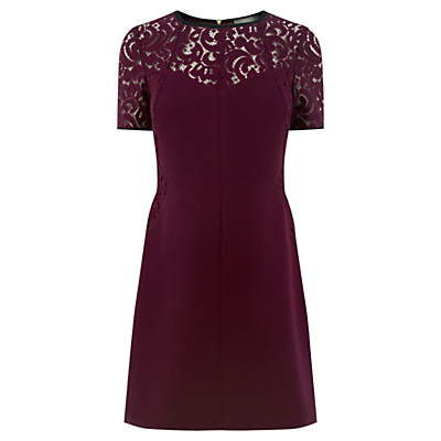 Lace Patched Dress, Burgundy - style: shift; length: mid thigh; fit: tailored/fitted; pattern: plain; predominant colour: burgundy; occasions: evening, occasion; fibres: polyester/polyamide - 100%; neckline: crew; sleeve length: short sleeve; sleeve style: standard; texture group: crepes; pattern type: fabric; shoulder detail: sheer at shoulder; season: a/w 2016; wardrobe: event