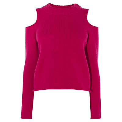 Chunky Cold Shoulder Jumper - neckline: round neck; pattern: plain; style: standard; predominant colour: hot pink; occasions: casual, creative work; length: standard; fibres: nylon - mix; fit: standard fit; shoulder detail: cut out shoulder; sleeve length: long sleeve; sleeve style: standard; texture group: knits/crochet; pattern type: knitted - other; pattern size: standard; season: a/w 2016; wardrobe: highlight