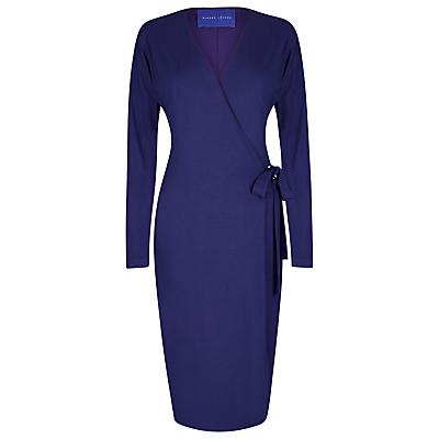 Wrap Jersey Dress - style: faux wrap/wrap; neckline: v-neck; pattern: plain; waist detail: belted waist/tie at waist/drawstring; predominant colour: royal blue; occasions: evening, work, occasion; length: on the knee; fit: body skimming; fibres: viscose/rayon - stretch; sleeve length: long sleeve; sleeve style: standard; texture group: jersey - clingy; pattern type: fabric; season: a/w 2016; wardrobe: highlight