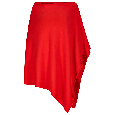Cashmere Blend Poncho - neckline: slash/boat neckline; pattern: plain; length: below the bottom; style: poncho; predominant colour: true red; occasions: casual, creative work; fit: loose; sleeve length: long sleeve; texture group: knits/crochet; pattern type: knitted - fine stitch; fibres: cashmere - mix; sleeve style: cape/poncho sleeve; season: a/w 2016; wardrobe: highlight