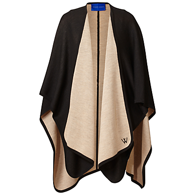 Reversible Cape - length: below the bottom; collar: shawl/waterfall; fit: loose; style: cape; secondary colour: stone; predominant colour: black; occasions: casual; fibres: nylon - mix; sleeve length: long sleeve; texture group: knits/crochet; collar break: low/open; pattern type: knitted - fine stitch; pattern size: standard; pattern: colourblock; sleeve style: cape/poncho sleeve; season: a/w 2016; wardrobe: highlight