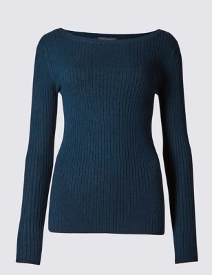 Long Sleeve Ribbed Jumper - neckline: slash/boat neckline; pattern: plain; predominant colour: navy; occasions: casual, creative work; length: standard; style: a-line; fit: slim fit; sleeve length: long sleeve; sleeve style: standard; pattern type: knitted - fine stitch; pattern size: standard; texture group: jersey - stretchy/drapey; fibres: viscose/rayon - mix; season: a/w 2016