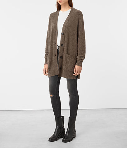 Alpha Cardigan - neckline: low v-neck; pattern: plain; predominant colour: chocolate brown; occasions: casual, work, creative work; style: standard; fibres: wool - mix; fit: loose; length: mid thigh; sleeve length: long sleeve; sleeve style: standard; texture group: knits/crochet; pattern type: knitted - fine stitch; wardrobe: basic; season: a/w 2016