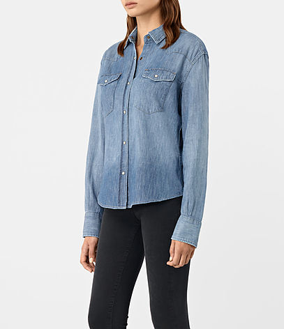 Xena Denim Shirt - neckline: shirt collar/peter pan/zip with opening; pattern: plain; style: shirt; predominant colour: denim; occasions: casual; length: standard; fibres: cotton - 100%; fit: body skimming; sleeve length: long sleeve; sleeve style: standard; texture group: denim; pattern type: fabric; wardrobe: basic; season: a/w 2016