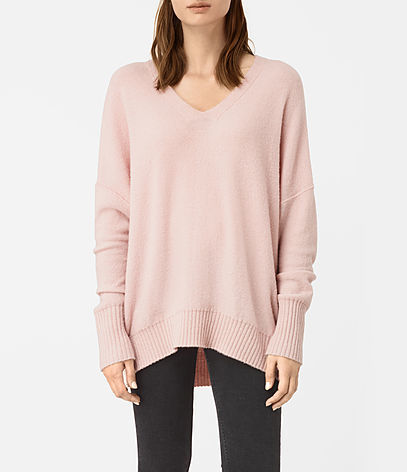 Alpha V Neck Jumper - neckline: v-neck; pattern: plain; style: standard; predominant colour: blush; occasions: casual, creative work; fibres: wool - stretch; fit: loose; length: mid thigh; sleeve length: long sleeve; sleeve style: standard; texture group: knits/crochet; pattern type: knitted - fine stitch; wardrobe: basic; season: a/w 2016