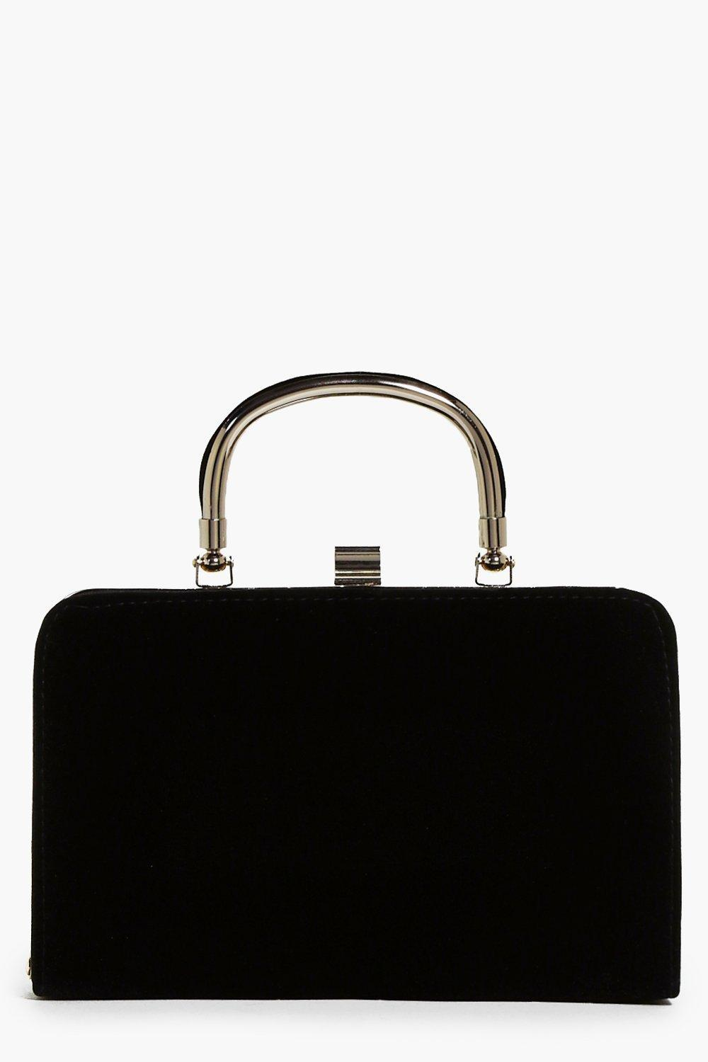 Handle Detail Velvet Box Clutch Black - predominant colour: black; occasions: evening, occasion; type of pattern: light; style: clutch; length: hand carry; size: small; material: velvet; pattern: plain; finish: plain; season: a/w 2016; wardrobe: event; trends: velvet