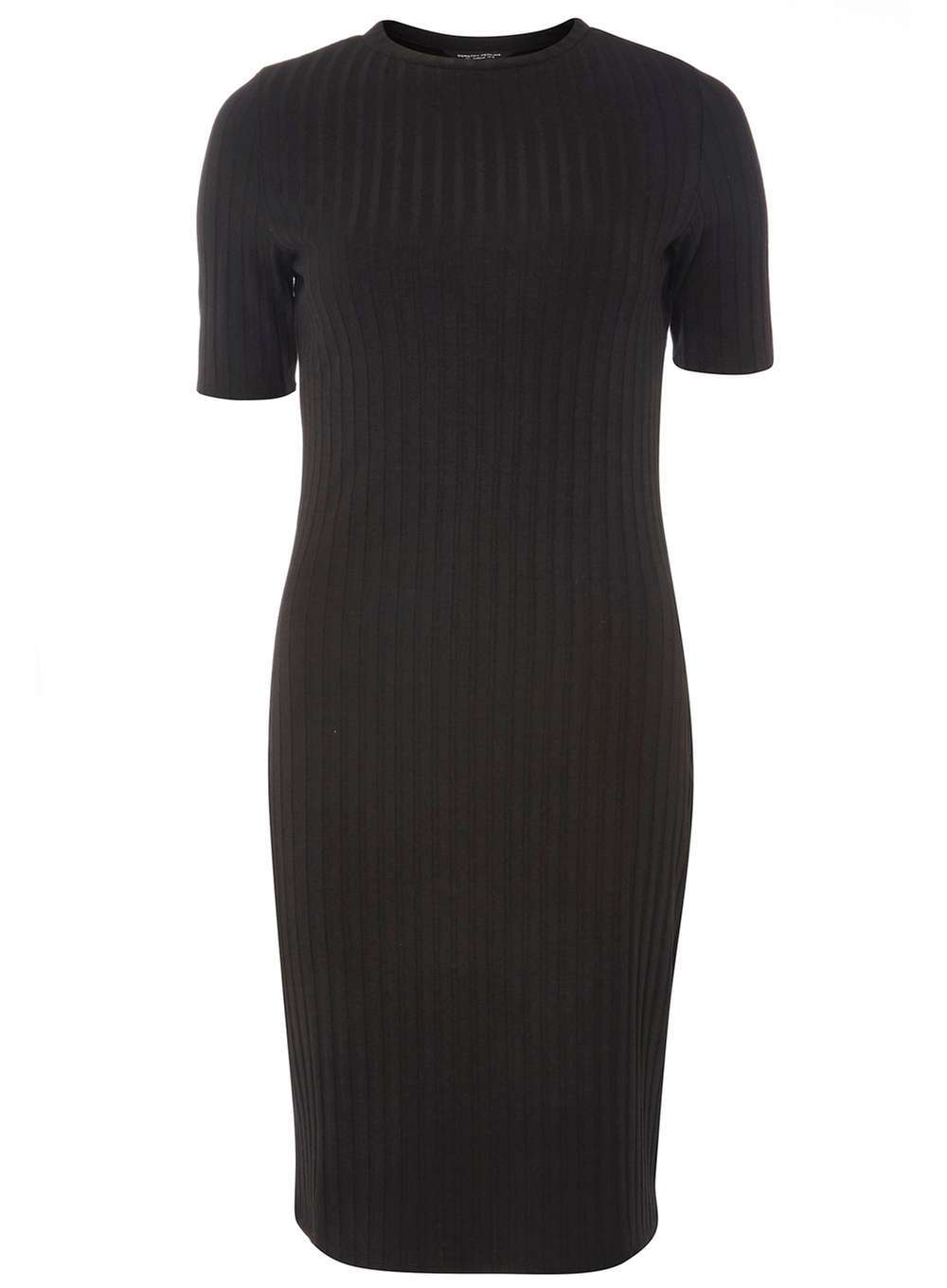 Womens Black Rib Bodycon Dress Black - fit: tight; pattern: plain; style: bodycon; predominant colour: black; occasions: evening; length: just above the knee; fibres: polyester/polyamide - stretch; neckline: crew; sleeve length: short sleeve; sleeve style: standard; texture group: jersey - clingy; pattern type: fabric; season: a/w 2016; wardrobe: event