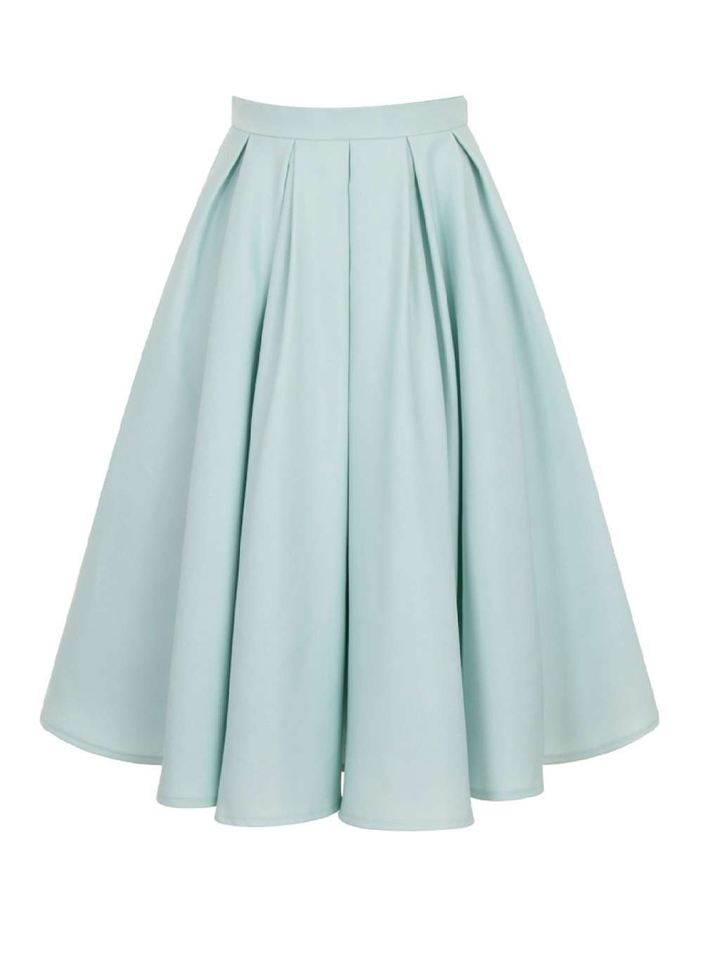 Womens **Chi Chi London Pleated Midi Skirt Blue - length: below the knee; pattern: plain; style: full/prom skirt; fit: loose/voluminous; waist: mid/regular rise; predominant colour: pistachio; occasions: casual, evening; fibres: polyester/polyamide - 100%; pattern type: fabric; texture group: other - light to midweight; season: a/w 2016; wardrobe: highlight