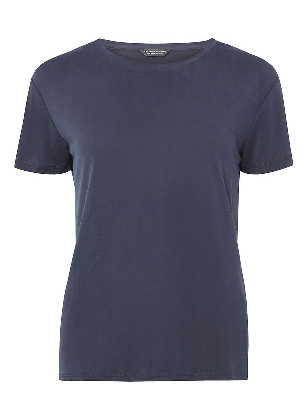 Womens Navy Short Sleeve Cupro T Shirt Navy - neckline: round neck; pattern: plain; style: t-shirt; predominant colour: navy; occasions: casual, work, creative work; length: standard; fibres: polyester/polyamide - mix; fit: body skimming; sleeve length: short sleeve; sleeve style: standard; pattern type: fabric; texture group: jersey - stretchy/drapey; season: a/w 2016
