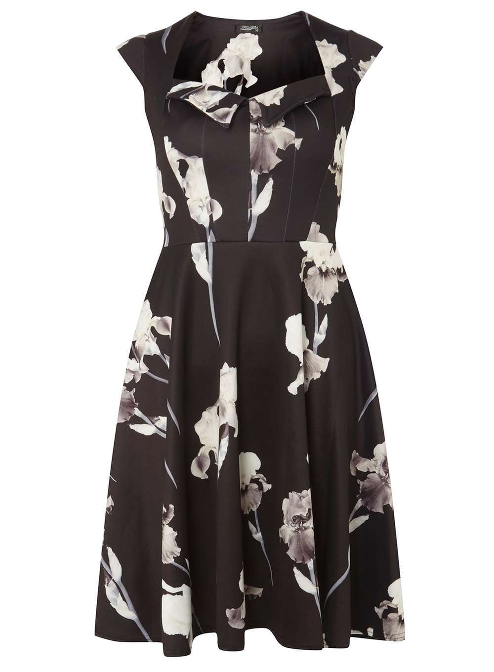 Womens **Feverfish Black And White Printed Dress Black - neckline: v-neck; sleeve style: capped; secondary colour: white; predominant colour: black; occasions: evening; length: on the knee; fit: fitted at waist & bust; style: fit & flare; fibres: polyester/polyamide - stretch; sleeve length: short sleeve; pattern type: fabric; pattern: patterned/print; texture group: jersey - stretchy/drapey; multicoloured: multicoloured; season: a/w 2016