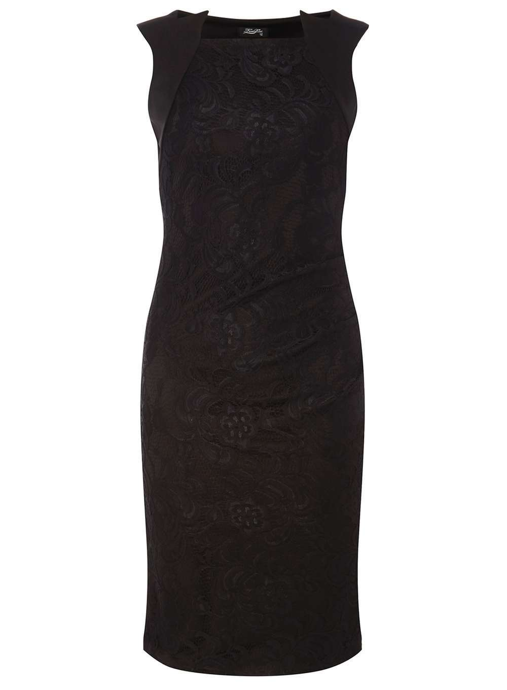Womens **Feverfish Black Lace Pleated Dress Black - style: shift; length: below the knee; neckline: high square neck; fit: tailored/fitted; pattern: plain; sleeve style: sleeveless; predominant colour: black; occasions: evening; fibres: polyester/polyamide - stretch; sleeve length: sleeveless; texture group: lace; pattern type: fabric; season: a/w 2016; wardrobe: event
