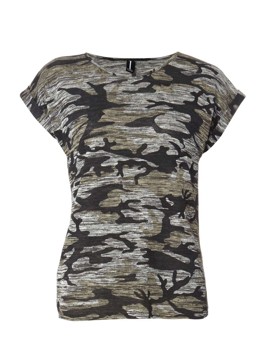 Womens **Izabel London Grey T Shirt Grey - style: t-shirt; predominant colour: mid grey; secondary colour: black; occasions: casual; length: standard; fibres: polyester/polyamide - stretch; fit: body skimming; neckline: crew; sleeve length: short sleeve; sleeve style: standard; pattern type: fabric; texture group: jersey - stretchy/drapey; pattern: camouflage; multicoloured: multicoloured; season: a/w 2016; wardrobe: highlight