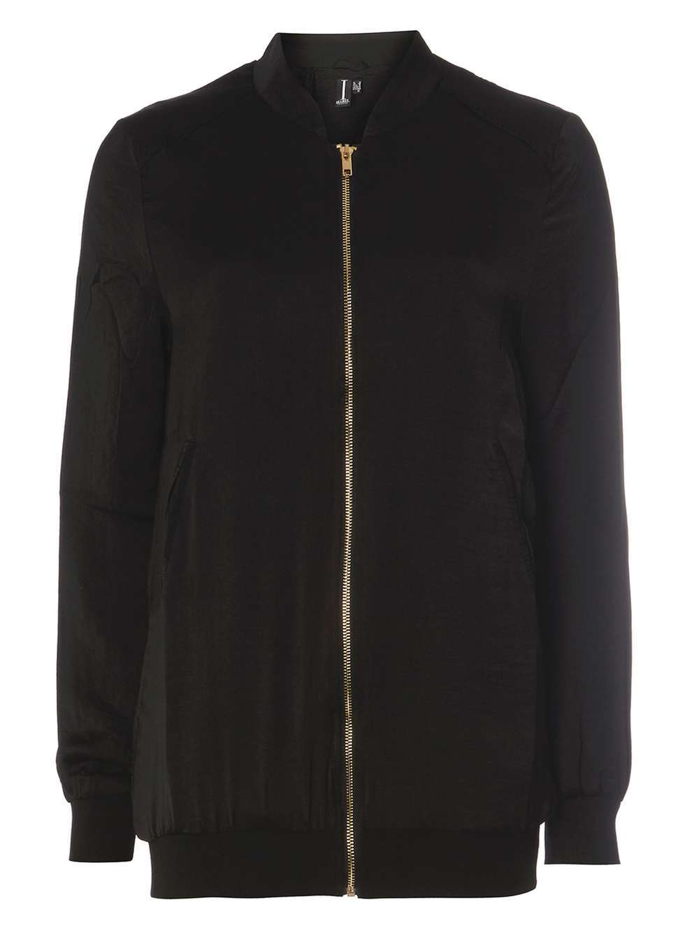 Womens **Izabel London Black Sateen Bomber Jacket Black - pattern: plain; collar: round collar/collarless; style: bomber; predominant colour: black; occasions: casual, creative work; length: standard; fit: straight cut (boxy); fibres: polyester/polyamide - 100%; sleeve length: long sleeve; sleeve style: standard; texture group: crepes; collar break: high; pattern type: fabric; season: a/w 2016