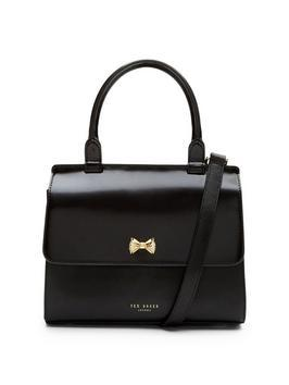 Small Bow Top Handle Tote Bag - secondary colour: gold; predominant colour: black; occasions: work, creative work; type of pattern: standard; style: tote; length: handle; size: small; material: leather; pattern: plain; finish: plain; season: a/w 2016