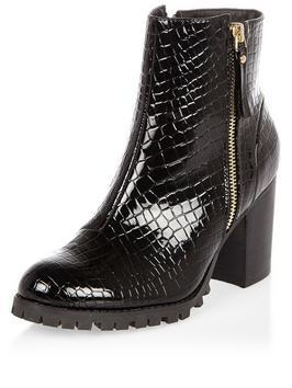 Croc Side Zip Chunky Ankle Boot - predominant colour: black; occasions: casual, creative work; material: faux leather; heel height: high; heel: block; toe: round toe; boot length: ankle boot; style: standard; finish: patent; pattern: animal print; shoe detail: tread; season: a/w 2016; wardrobe: highlight
