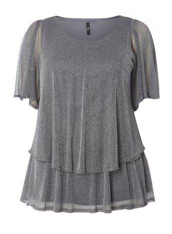 Silver Glitter Frill Top - neckline: round neck; sleeve style: angel/waterfall; pattern: plain; style: t-shirt; predominant colour: silver; occasions: evening; length: standard; fibres: nylon - mix; fit: loose; sleeve length: short sleeve; texture group: sheer fabrics/chiffon/organza etc.; pattern type: fabric; embellishment: glitter; season: a/w 2016; wardrobe: event; trends: metallics