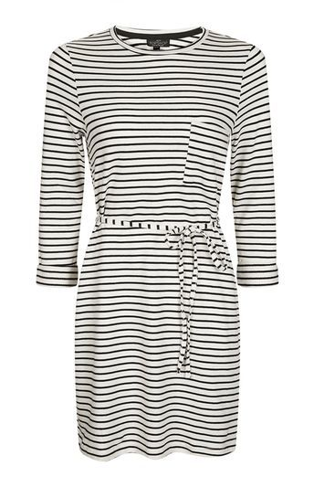 Petite Stripe Belted Dress - style: t-shirt; length: mini; pattern: horizontal stripes; waist detail: belted waist/tie at waist/drawstring; predominant colour: white; secondary colour: black; occasions: casual; fit: body skimming; fibres: cotton - 100%; neckline: crew; sleeve length: 3/4 length; sleeve style: standard; pattern type: fabric; pattern size: standard; texture group: jersey - stretchy/drapey; trends: chic girl; wardrobe: basic; season: a/w 2016