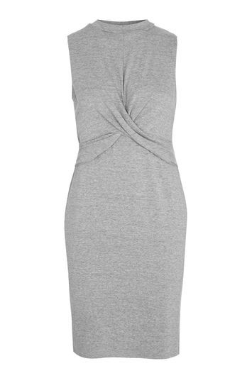 Twist Front Bodycon Dress - length: mini; fit: tight; sleeve style: sleeveless; style: bodycon; waist detail: twist front waist detail/nipped in at waist on one side/soft pleats/draping/ruching/gathering waist detail; predominant colour: mid grey; occasions: casual, creative work; fibres: cotton - stretch; neckline: crew; sleeve length: sleeveless; texture group: jersey - clingy; pattern type: fabric; pattern size: light/subtle; pattern: marl; trends: glossy girl, tomboy girl; wardrobe: basic; season: a/w 2016