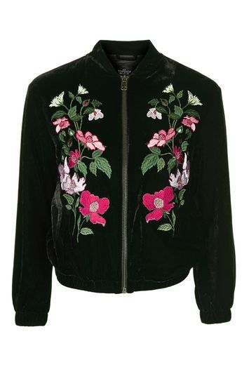 Velvet Embroidered Bomber Jacket - collar: round collar/collarless; style: bomber; secondary colour: hot pink; predominant colour: black; occasions: casual, creative work; length: standard; fit: straight cut (boxy); fibres: polyester/polyamide - stretch; sleeve length: long sleeve; sleeve style: standard; collar break: high; pattern type: fabric; pattern size: standard; pattern: florals; texture group: velvet/fabrics with pile; embellishment: embroidered; season: a/w 2016