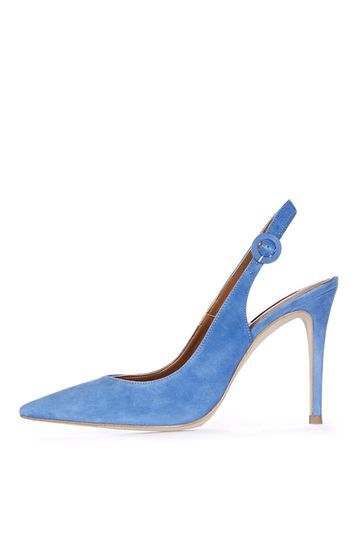 Goldy Slingback Courts - predominant colour: diva blue; occasions: evening, occasion; material: suede; heel height: high; heel: stiletto; toe: pointed toe; style: slingbacks; finish: plain; pattern: plain; season: a/w 2016; wardrobe: event