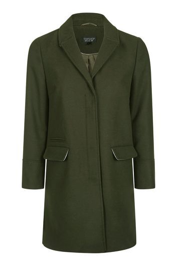 Slim Fit Boyfriend Coat - pattern: plain; style: single breasted; collar: standard lapel/rever collar; length: mid thigh; predominant colour: dark green; occasions: casual, creative work; fit: straight cut (boxy); fibres: wool - mix; sleeve length: long sleeve; sleeve style: standard; collar break: medium; pattern type: fabric; texture group: woven bulky/heavy; season: a/w 2016; wardrobe: highlight