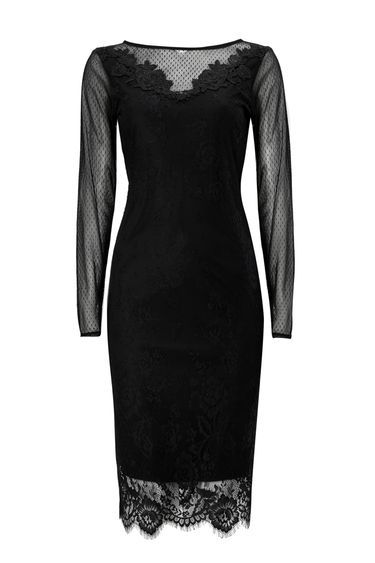 Black Lace Trim Mesh Dress - style: shift; neckline: slash/boat neckline; fit: tailored/fitted; predominant colour: black; occasions: evening; length: on the knee; fibres: nylon - 100%; sleeve length: long sleeve; sleeve style: standard; texture group: lace; pattern type: fabric; pattern size: standard; pattern: patterned/print; embellishment: lace; shoulder detail: sheer at shoulder; season: a/w 2016; wardrobe: event; trends: sparkle