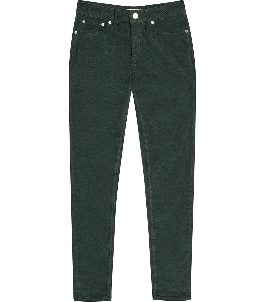 Joni Womens Skinny Cords In Green - length: standard; pattern: plain; pocket detail: traditional 5 pocket; waist: mid/regular rise; predominant colour: dark green; occasions: casual; fibres: cotton - stretch; texture group: corduroy; fit: slim leg; pattern type: fabric; style: standard; season: a/w 2016; wardrobe: highlight